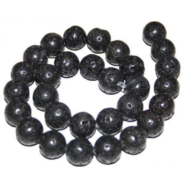 sort lava perler, 14mm rund,
