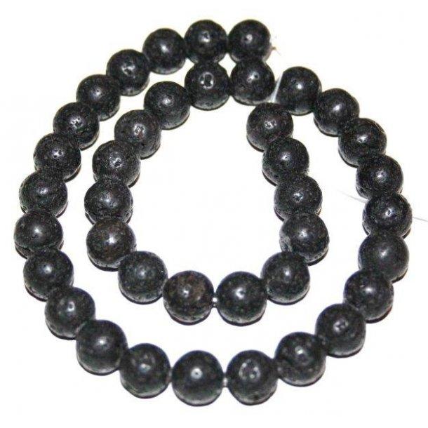 sort lava perler, 10mm rund,