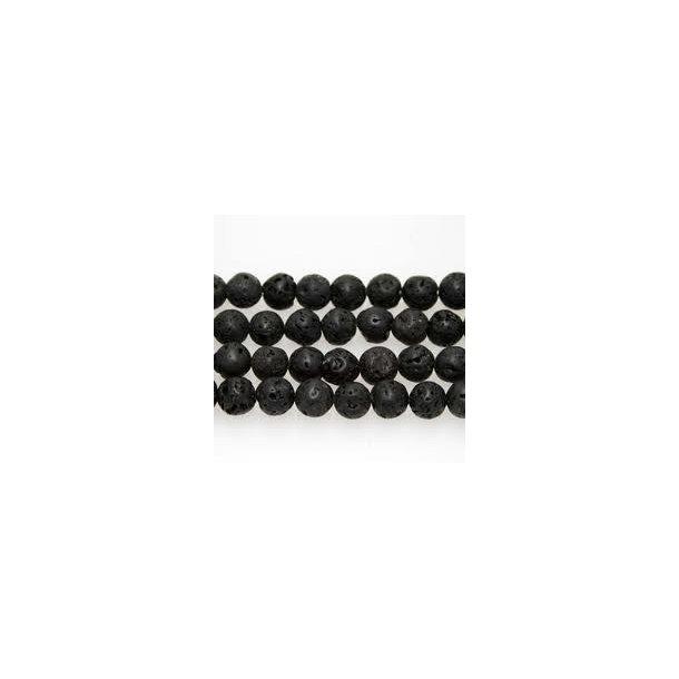 sort lava perle-12mm rund.