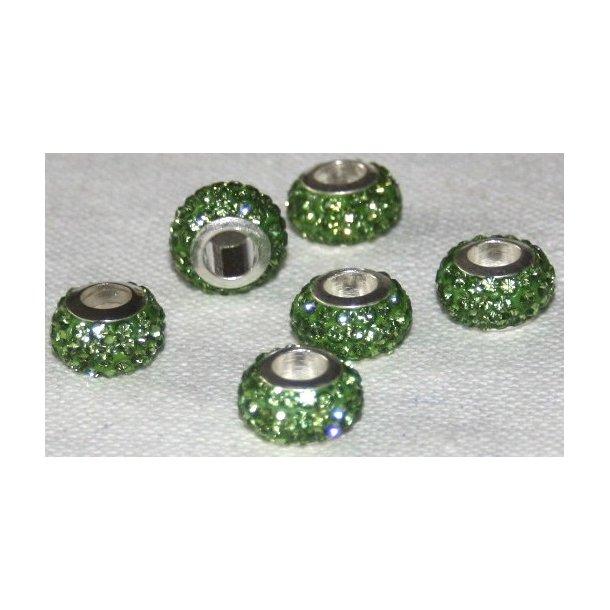 shamballa krystal perle med 5mm hul. fv. grøn