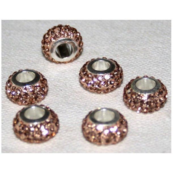 shamballa krystal perle med 5mm hul. fv. guld