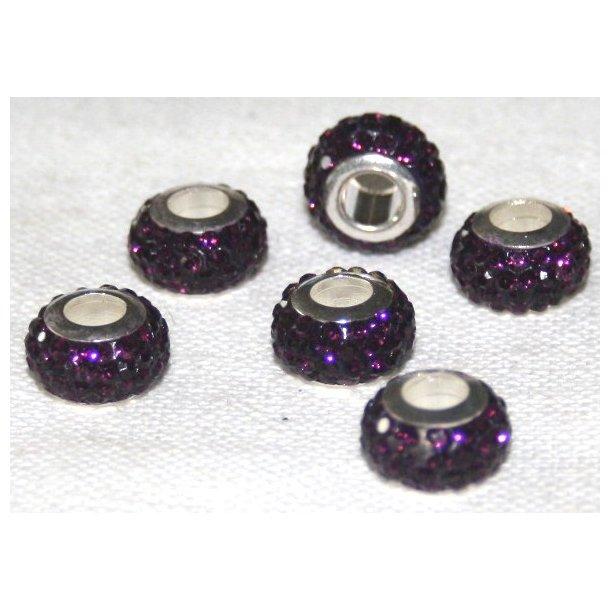 shamballa krystal perle med 5mm hul. fv. lilla
