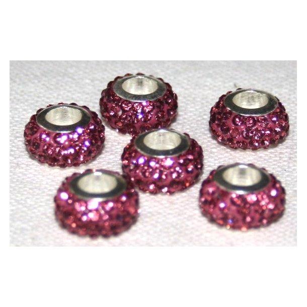 shamballa krystal perle med 5mm hul. fv. rosa