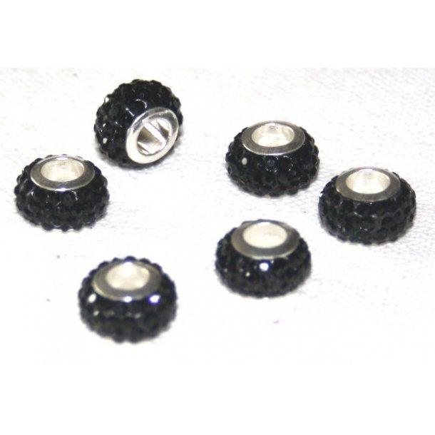 shamballa krystal perle med 5mm hul. fv. sort