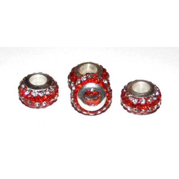 shamballa krystal perle med 5mm hul. fv. rød/sølv