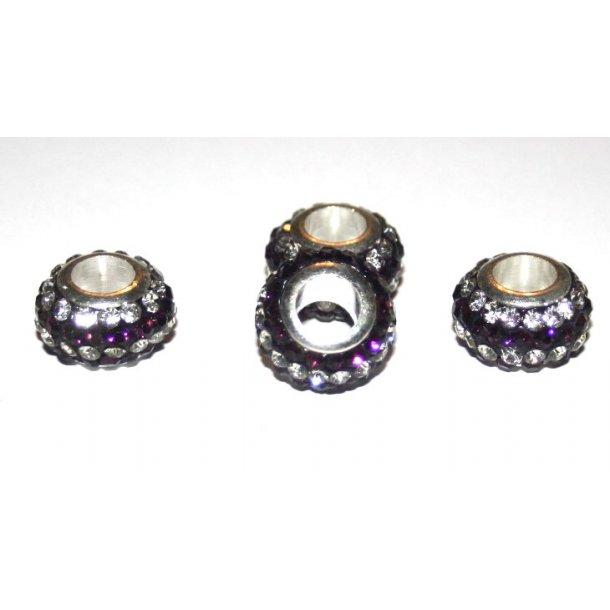 shamballa krystal perle med 5mm hul. fv.lilla/sølv