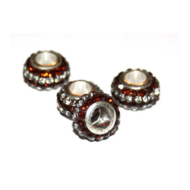 shamballa krystal perle med 5mm hul. fv. brun/sølv