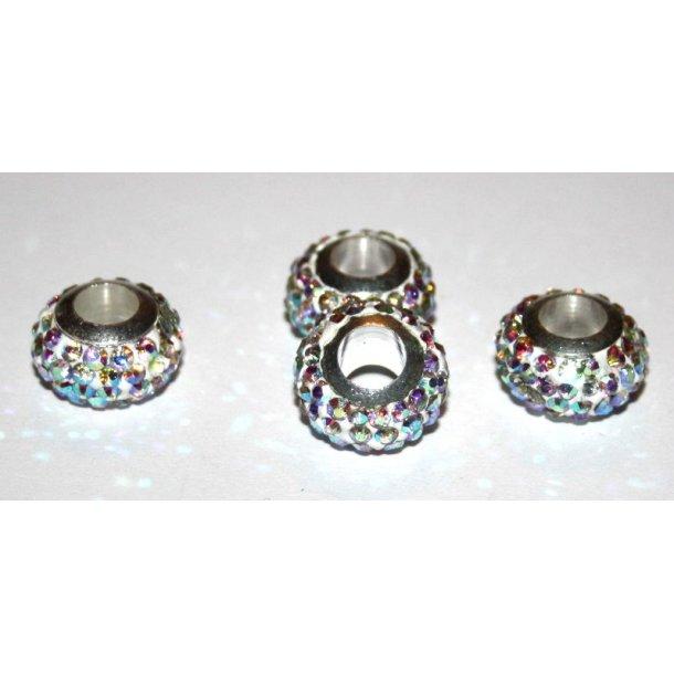 shamballa krystal perle med 5mm hul. fv.multi sølv