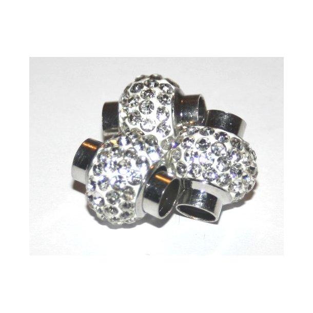 shamballa lås til 6mm læder, fv. sølv  udsolgt