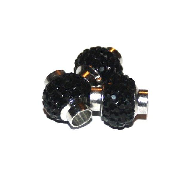 shamballa lås til 6mm læder, fv. sort