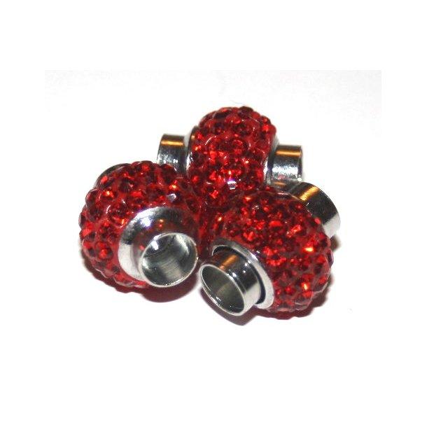 shamballa lås til 6mm læder, fv. rød