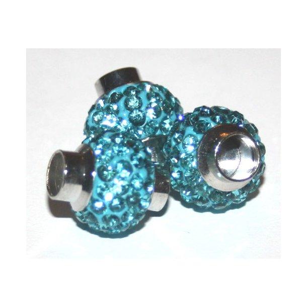 shamballa perle til 6mm læder, fv. turkis