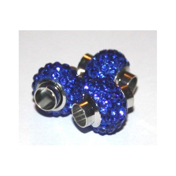 shamballa lås til 6mm læder, fv. kongeblå