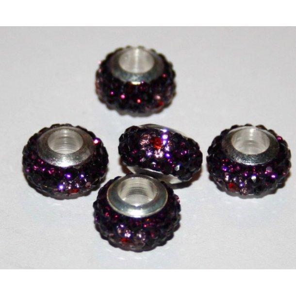 shamballa krystal perle med 5mm hul.lilla blomster