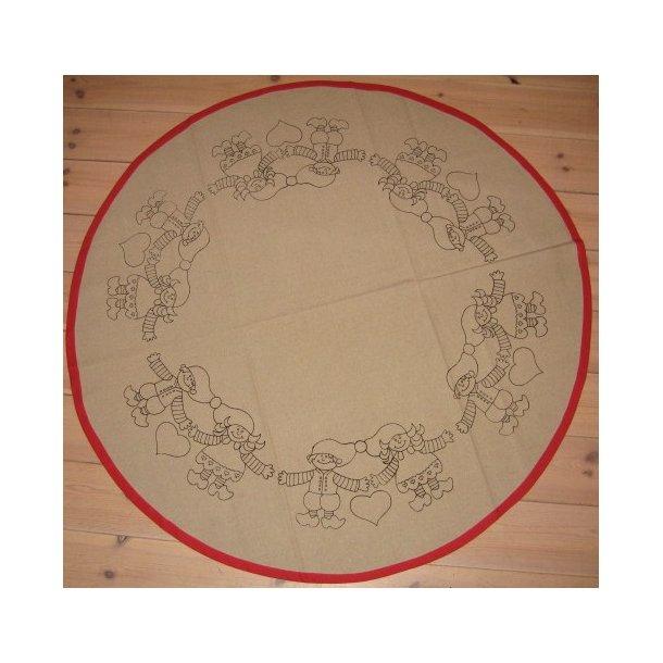 påtrykt juletræstæppe Ø130cm, 55% hør 45% bomuld