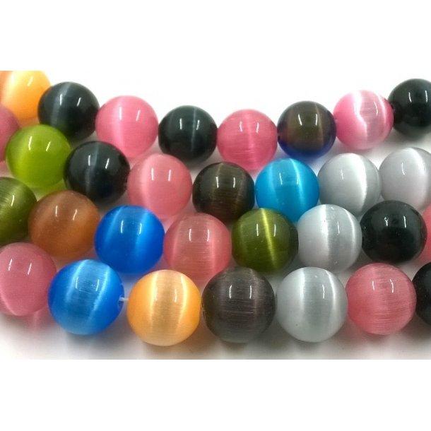 Cats eye beads, 12mm glat, ass.fv.