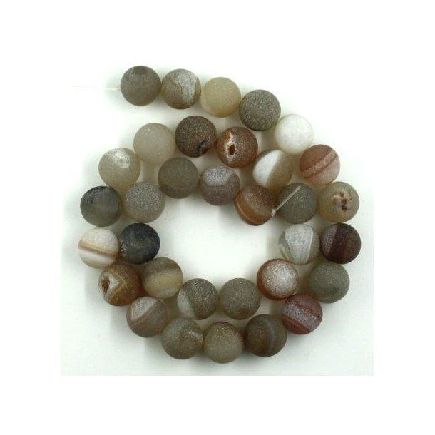 12mm krakeleret  agat med krystal  kæde, natur