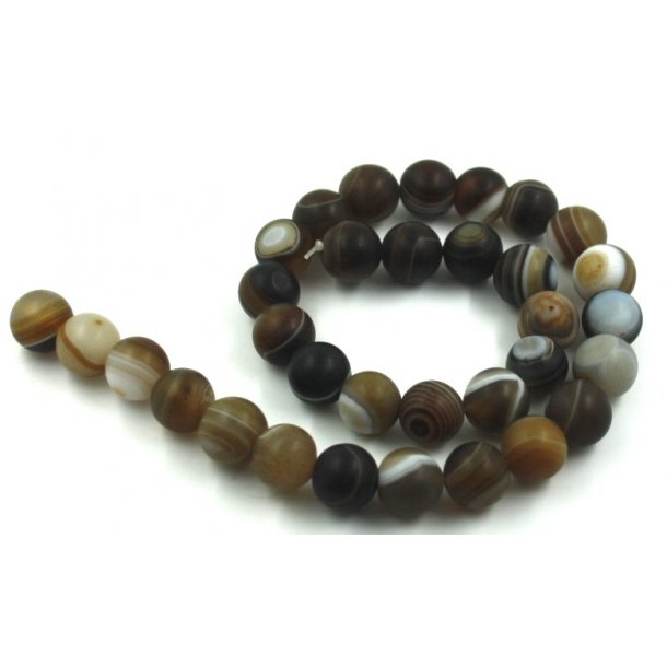 12mm agat sten kæde, brun med strib, mat