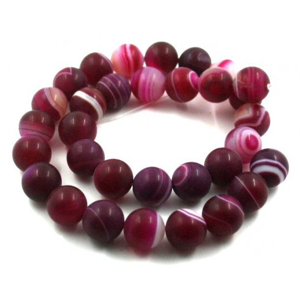 12mm agat sten kæde, pink med strib, mat