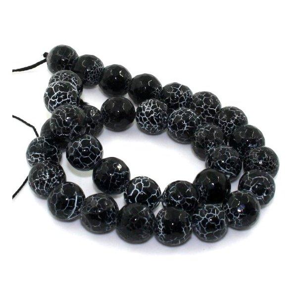 12mm facet slebet og krakeleret agat perle. sort