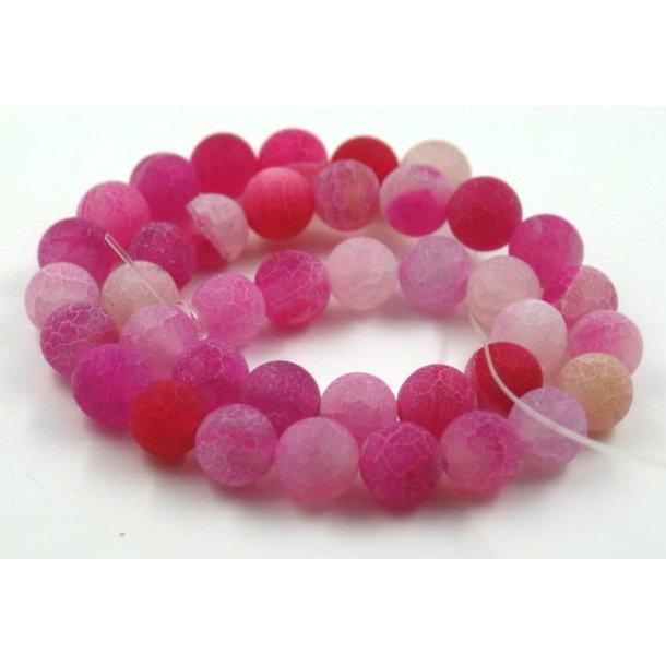 10mm krakeleret agat sten kæde, pink