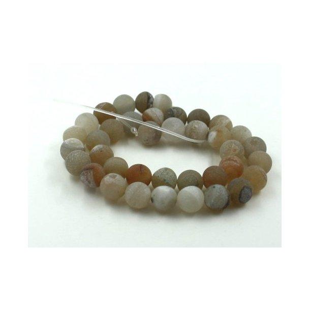 10mm krakeleret agat sten kæde med krystal, natur