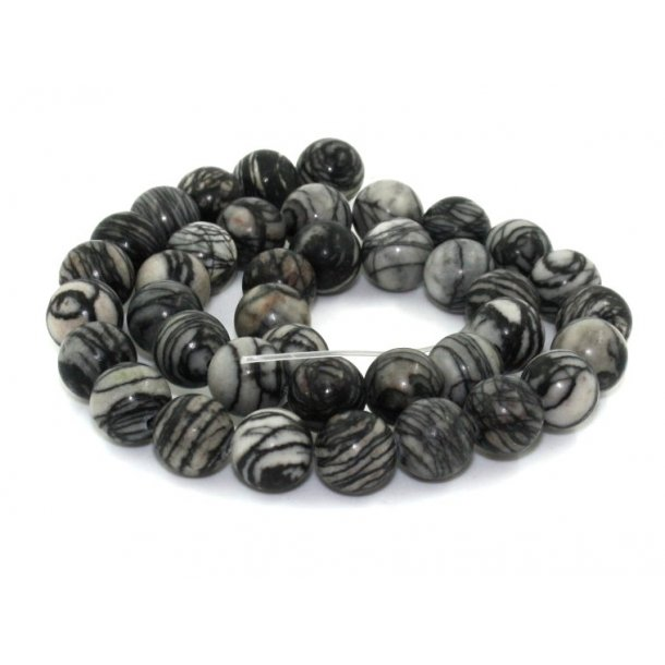 10mmø sort picasso jaspis sten perle,