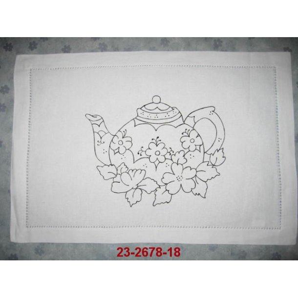 23-2678-18, hulsømkant dække serviet med motiv,