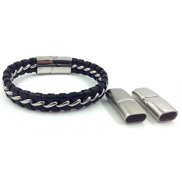 Lige ud 6x12mm, armbånd-17, sort læder m/stål lås+kæde - 8, læderarmbånd GI68