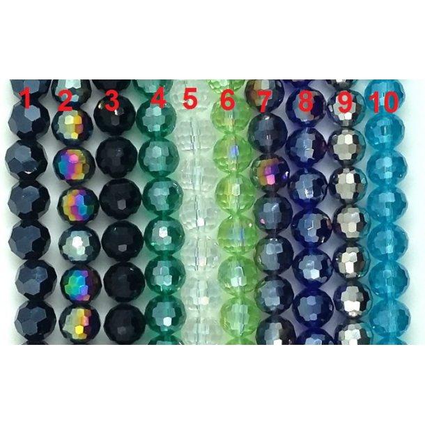 Glas facetperler i flot A-kvalit 10mmø i 10 farver