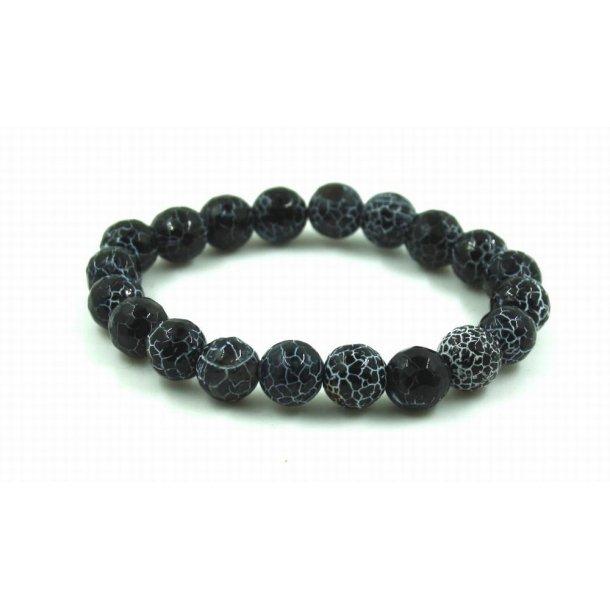 sten perle armbånd 10mm-1, krakeleret agat sort