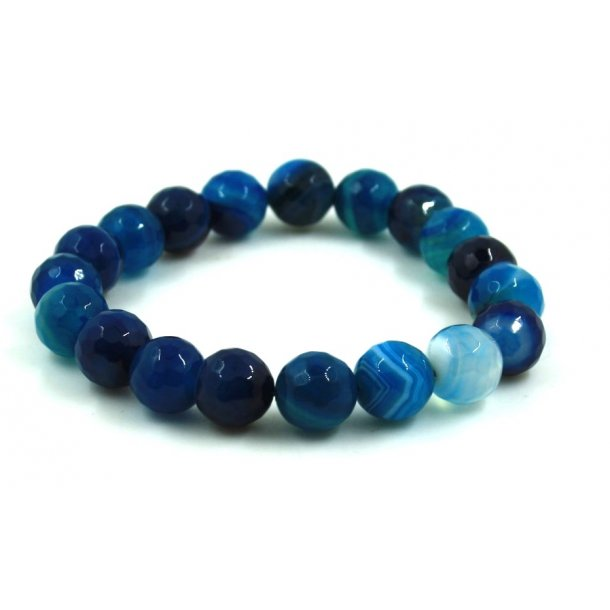 sten perle armbånd 10mm-2, facet blå agat