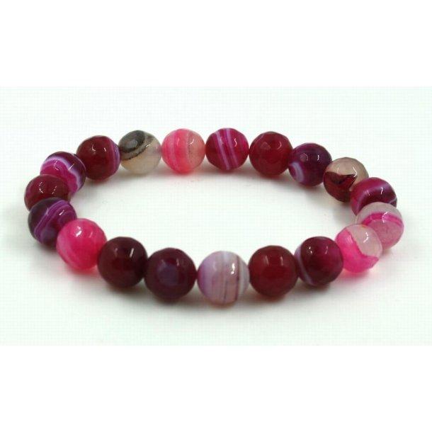 sten perle armbånd 10mm-5, facet pink agat