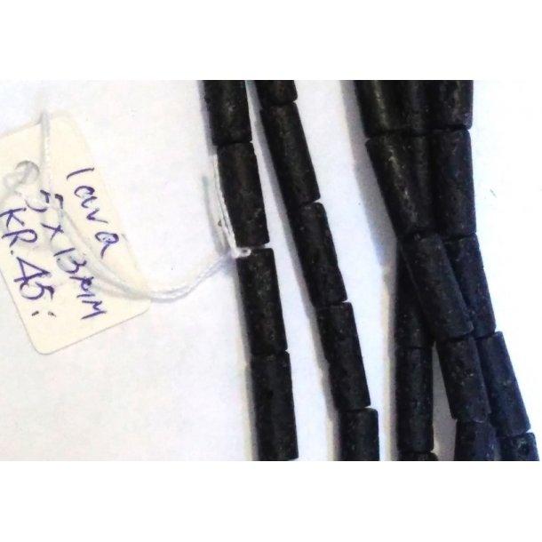 sort lava perler,  rør, 5x13mm