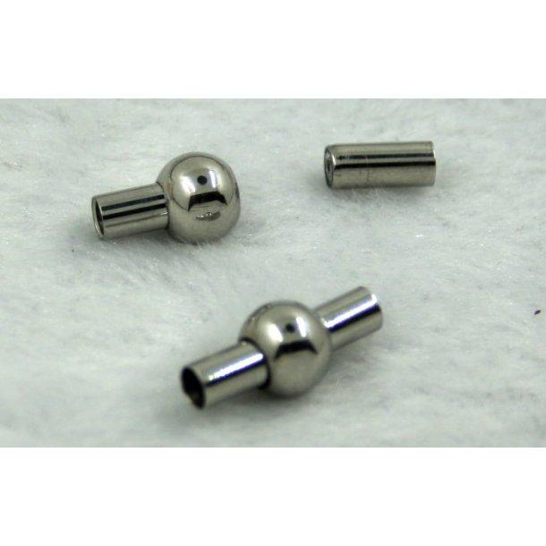 3-02, stål magnet lås til 3mm læder snore. blank