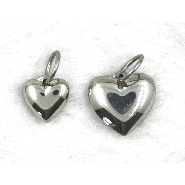 stål charms-7,  vedhæng hjerte.