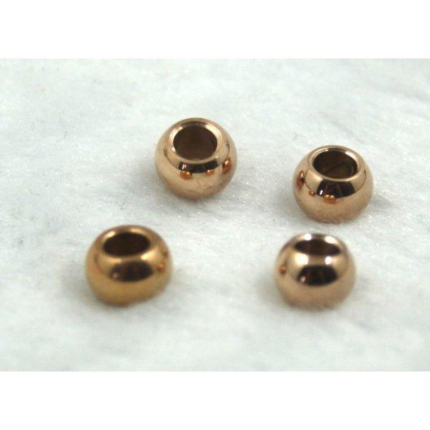 stål charms 4-002, 4mm hul. 4stk./pk. rosa guld.